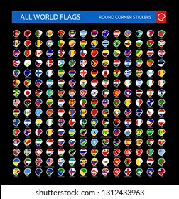 Round Corner All World Flags isolated on black background. Ultimate Collection of All World Flags - Vector