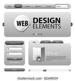 Round Corner Web Design Elements Graphite Gray: Version 2