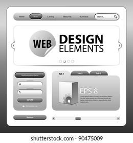 Round Corner Web Design Elements Graphite Gray Grayscale