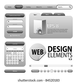 Round Corner Web Design Graphite Gray Elements: Buttons, Form, Slider, Scroll, Icons, Tab, Menu, Navigation Bar, Login, Calendar, Accordion, Template  Version 3