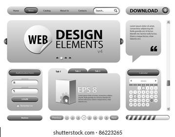 Round Corner Web Design Graphite Gray Elements: Buttons, Form, Slider, Scroll, Icons, Tab, Menu, Navigation Bar, Login, Calendar, Template Version 4