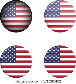 Round Country Flag in different styles disc badge vector illustration United States of America