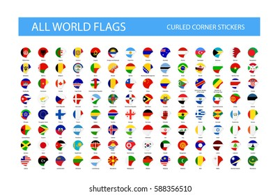 Round Curled Corner World Flags. Part 1. Ultimate Collection of All World Flags.