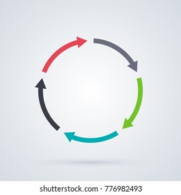 Round cycle template with five segments in elegant business style on white background.