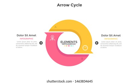 Round cyclic chart with 2 colorful arrow elements. Concept of two steps or stages of production cycle. Modern infographic design template. Flat vector illustration for presentation, report.