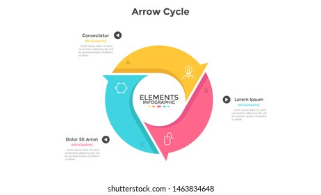 Round cyclic chart with 3 colorful arrow elements. Concept of three steps or stages of production cycle. Modern infographic design template. Flat vector illustration for presentation, report.
