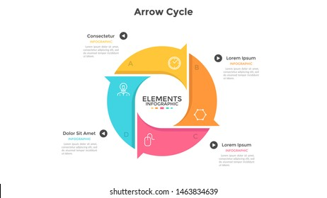 Round cyclic chart with 4 colorful arrow elements. Concept of four steps or stages of production cycle. Modern infographic design template. Flat vector illustration for presentation, report.