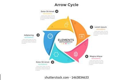 Round cyclic chart with 5 colorful arrow elements. Concept of five steps or stages of production cycle. Modern infographic design template. Flat vector illustration for presentation, report.