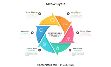 Round cyclic chart with 6 colorful arrow elements. Concept of six steps or stages of production cycle. Modern infographic design template. Flat vector illustration for presentation, report.