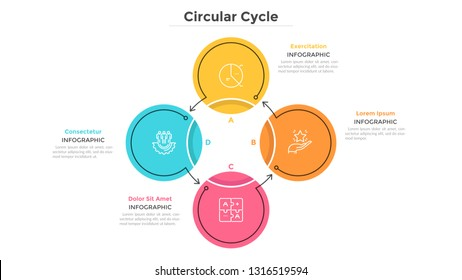 Round cyclical chart with 4 colorful circular elements connected by arrows. Business cycle with four steps. Flat infographic design template. Simple vector illustration for presentation, report.
