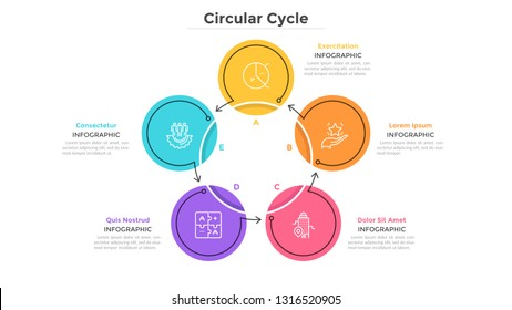 Round cyclical chart with 5 colorful circular elements connected by arrows. Business cycle with five steps. Flat infographic design template. Simple vector illustration for presentation, report.