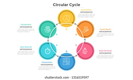 Round cyclical chart with 6 colorful circular elements connected by arrows. Business cycle with six steps. Flat infographic design template. Simple vector illustration for presentation, report.