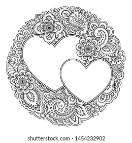 Round decorative frame with floral pattern in forn of heart in mehndi style. Antistress coloring book page. Doodle ornament in black and white. Outline hand draw vector illustration.