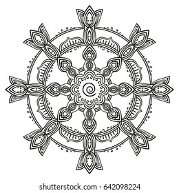 Round decorative samsara wheel mandala, Page for adult coloring book, Isolated design element Vector illustration