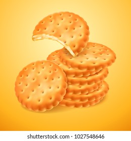 Round delicious cookies or crackers isolated on yellow background. The bitten shape of biscuit. Crispy baking. Vector 3d illustration for your design packing or advertising.