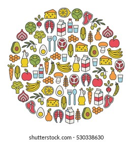 round design element with healthy food icons
