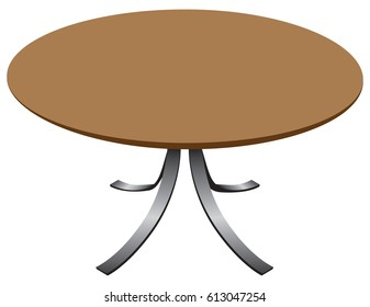 Round designer table. Modern wooden table with steel legs.