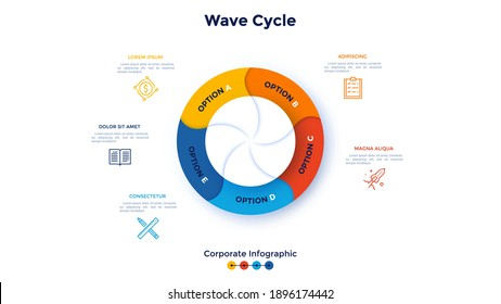 Round diagram divided into 5 colorful wavy parts. Concept of five features of business cyclic process. Corporate infographic design template. Modern flat vector illustration for banner, presentation.
