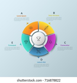 Round diagram divided into 5 colorful pieces and circular element in center, thin line icons and arrows pointing at text boxes. Web navigation tool. Infographic design layout. Vector illustration.