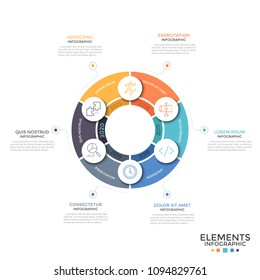 Round diagram divided into 6 equal colorful parts with thin line icons and year indication. Concept of annual cyclical process. Minimal infographic design template. Vector illustration for brochure.