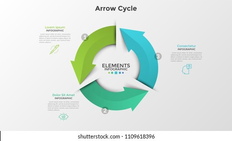 Round diagram with three colorful arrows, thin line symbols and text boxes. Concept of 3-stepped cyclical business process. Realistic infographic design template. Vector illustration for presentation.