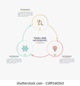 Round diagram with three colorful circular elements, numbers and thin line symbols connected by arrows. Cyclic business process visualization. Clean infographic design template. Vector illustration