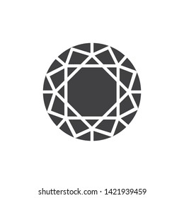 Round diamond vector icon. Precious stone, gem filled flat sign for mobile concept and web design. Circle Gemstone glyph icon. Symbol, logo illustration. Vector graphics