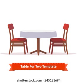 Round dinner table for two with white cloth and red wooden chairs. Flat style illustration. EPS 10 vector.