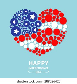 Round dot heart flag. Stars and stripes. Happy independence day. United States of America. 4th of July. Flat design  Vector illustration