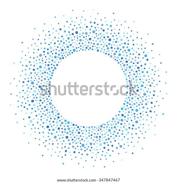 テキスト用の空白を持つ丸いドット枠。青い斑点や、様々な大きさの点で作られた枠。円の形状。青の抽象的背景の影。