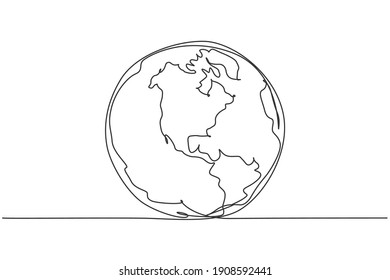 Round earth globe. Continuous one line drawing of world map minimalist vector illustration design on white background. Simple line draw modern graphic style. Hand drawn graphic concept for education