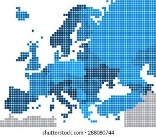 Round edge blue square Europe map on white background, vector illustration.