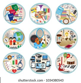 Round education subject web icons