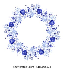 Round element with a floral ornament of blue color on a white background, made in folk Russian style Gzhel