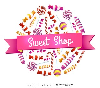 Round Emblem candies and sweets. Sweet Shop.