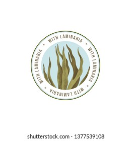 Round emblem with hand drawn laminaria digitata seaweed. Vector illustration