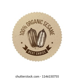 Round emblem with hand drawn sesame plant and type design - 100 percent organic sesame. Best choice