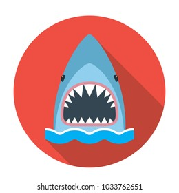 The round emblem of the icon is a shark with an open mouth. flat vector illustration with long shadow