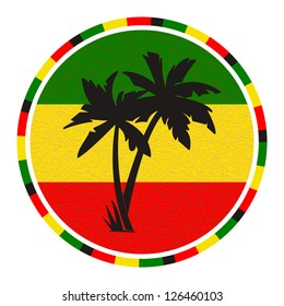 Round emblem with palm trees on the background of  the flag Rastafarian