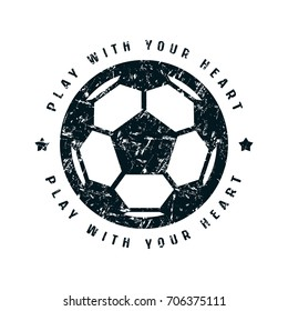 Round emblem of soccer championship. Graphic design for t-shirt. Black print on white background