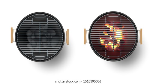 Round empty barbecue grill top view vector set. Unlit grill with Charcoal and another with burning coals.