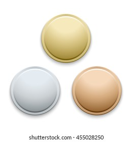 Round empty polished gold, silver, bronze, medals, coins vector template. Blank template for medal and illustration round gold medal