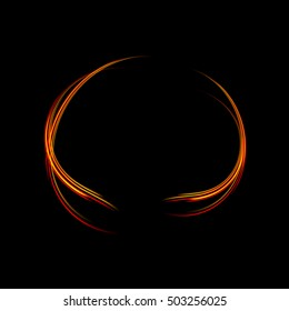 Round energy frame. Shining circle banner. Magic light neon energy circle. Glowing fire ring trace. Glitter sparkle swirl trail effect on black background.