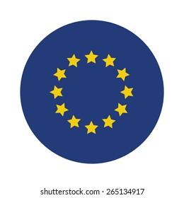 Round european union flag vector icon isolated, european union flag button