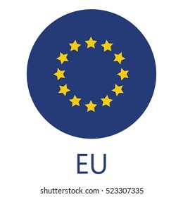 Round european union flag vector icon isolated, button