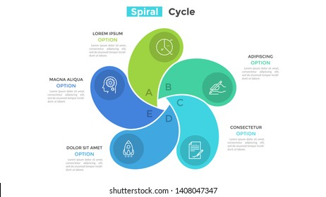 Round fan-like chart with 5 colorful spiral elements. Concept of five-stepped cyclic business process. Minimal infographic design template. Flat vector illustration for presentation, brochure.