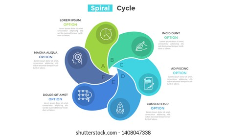 Round fan-like chart with 6 colorful spiral elements. Concept of six-stepped cyclic business process. Minimal infographic design template. Flat vector illustration for presentation, brochure.