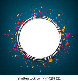 Round festive blue background with color confetti. Vector paper illustration.
