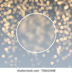 Round festive gray and golden bokeh background. Vector illustration.