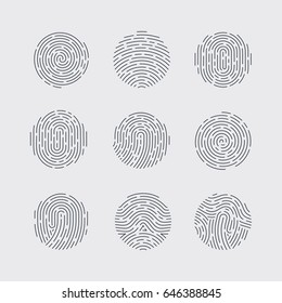 Round Fingerprint Patterns Detailed for Identity Person Security ID on Gray Background
